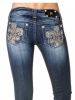 MISS ME Limited Edition Silver Sequin Fleur de Lis Jeans